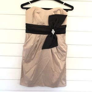 Strapless Cocktail Dress in Tan and Black